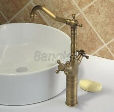 Antique Brass Dual Handles Bathroom Vessel Sink Faucet Mixer Tap 8nf003