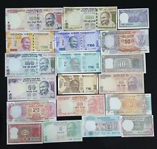 INDIA SET OF 19 PCS ALL DIFFERENT BANKNOTES SET FROM 1/- TO 1000/- RUPEES IN UNC