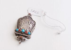 Finely Handcarved Tibetan Kalachakra Silver Sterling Ghau Pendant Box