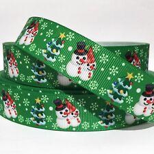 "GROSGRAIN RIBBON 7/8"" CHRISTMAS TREE SNOWMAN G9 USA SELLER  ( COMBINE SHIPPING )"