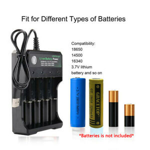 18650 Battery Charger 4 Bay Fast Charge for 3.7V Li-ion TR IMR 18350 18500 16340