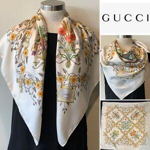 GUCCI Italy Vintage Silk Twill V.Accornero Flora Scarf 85cm x 85cm Handroll Hems