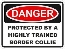 Chien race border collie danger autocollant animal pour pare-chocs casier porte voiture