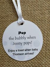 15x Grey Neutral Gift Tags Personalised Baby Shower Tags Pop the bubbly Wine tag
