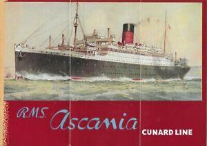 CUNARD WHITE STAR LINE RMS ASCANIA  1ST CLASS FULL COLOUR FOLD OUT DECK PLAN