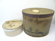 Two Vintage Used Damaged Lord & Taylor Cowboy Hatboxes Hat Boxes Decorative
