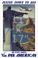 Vintage Airline Travel Poster Pan Am Rome #2 6 sizes, matte+glossy avail
