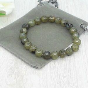 Handmade Natural Labradorite Gemstone Stretch Bracelet & Velvet Pouch. 4/6/8mm
