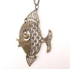 Neu HALSKETTE mit FISCH farbe gold ANKERKETTE Fish FISCHE Sternzeichen COLLIER