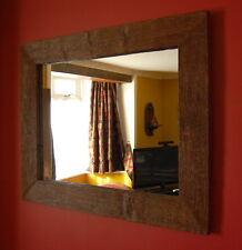 Rustic Reclaimed Rectangular Wooden English Oak Mirror 94cm Wide Hand Made
