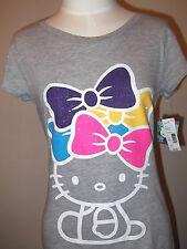 HELLO KITTY   Women's  Junior T-shirt Tee Sanrio S Grey Bows Bow Glitter