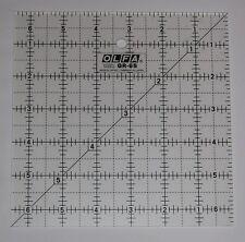 """OLFA ANTI SCIVOLO SATINATO Acrilico Quilting righello 6.5 """"X 6.5"""" tessuto carta qr-6s"""
