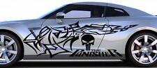 PUNISHER TRIBAL CAR VINYL DECAL SIDE W/ SKULL HOOD & BANNER VISOR FOR CAR TRUCK