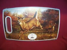 BIG WHITETAIL BUCK DEER PLASTIC CUTTING BOARD WILDLIFE SCENE FOR CABIN LODGE