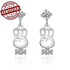 White Gold Plated Solid 925 Sterling Silver Cute Rabbit w/ CZ Dangle Earrings