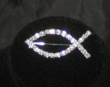 "Christian FISH Pin Crystals IXOYE New Ichthys Brooch 2"" long"