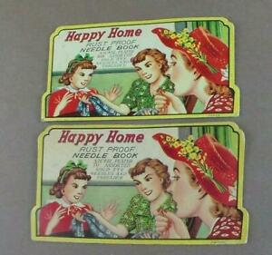 Vintage Happy Home Rustproof Nickel Plated Gold Eye Needle Book Lot of 2 Japan