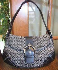COACH #6808 Black Signature Jacquard SOHO Buckle Flap Handbag, Purse, Nice!