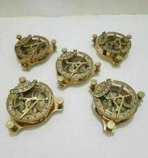 LOT 5 PCS Sundial Compass Brass Anniversory sun dial clock Antique navigational