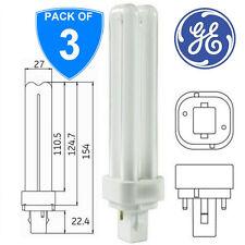 3-GE 12863 18w 2 Pin Bianco neutro G24d-2 2P 3500k PLC Bastone Lampadine CFL lampade 835