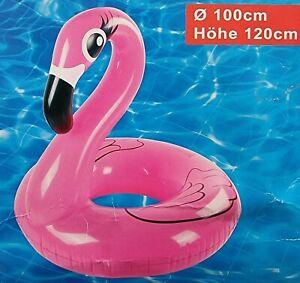 XXL Schwimmring Flamingo 100 cm Luftmatratze Aufblastier Reifen Pool Wasser