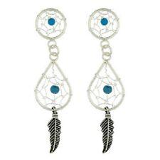 Silver earrings stud 925 dream catcher gemstone turquoise Circle & Teardrop 45mm