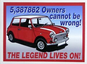 Mini Cooper The Legend Lives On! Car Race Rally Motorsport Sticker / Decal