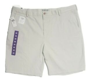 IZOD Men Stretch Shorts Sz 40 Relaxed Fit Flat Front Saltwater Wash Chino Casual