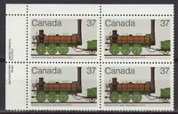 CANADA #1001 37¢ Canadian Locomotives UL Inscription Block MNH