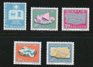 Switzerland 1961 MNH Mi 731-735 Sc B303-B307 Minerals,Crystal & Fossil **