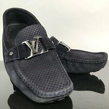 Mens Designer LOUIS VUITTON Navy Blue LV Buckle Casual Dress Shoes Sz 9