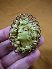 (CL61-21) Lady hair wind flowers green Cameo brass Pin Pendant Jewelry brooch