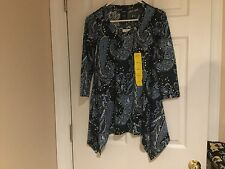 Women's Premise Polyester Top Forever Paisley Blue Size M (NWT)