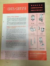 Vtg Oil-Rite Corporation Brochure ~ Lubricating Equipment Oil Cups Valves Chain