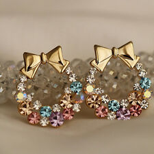 1Pair Fashion Women Lady Elegant Crystal Rhinestone Ear Stud Earrings Jewelry
