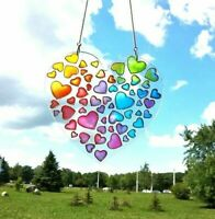 Rainbow Heart suncatcher - Window Hanging Stained glass decor