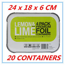 20 x Premium Foil Tray Disposable Takeaway BBQ Foil Trays food Container W LID D