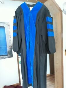 Graduation PhD Grad Gown Jostens 5'6 - 5'8 Black and Blue Graduate School