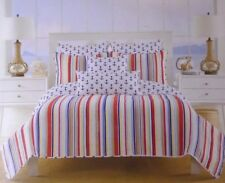 Max Studio Home Twin Set Quilted Bed Spreads & Pillow Shams Stripes & Anchors