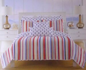 Max Studio Home Twin Set Quilted Bed Spread & Pillow Sham Stripes & Anchors