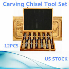 12Pcs Wood Carving Hand Chisel Tool Set Woodworking Professional Gouges+Box A