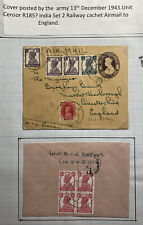 1943 India Army Post Office Stationery Airmail Cover To Leicester England