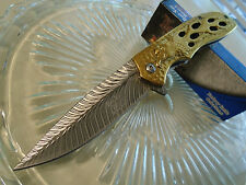 Dark Side Blades Ballistic Assisted Gold Chrome Eagle Pocket Knife A043GD Tini