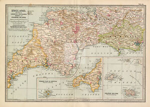 VINTAGE Map of Cornwall, Devonshire, Dorset and Channel Islands #F391
