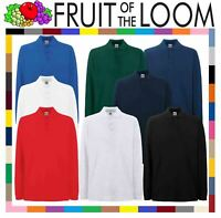MEN'S FRUIT OF THE LOOM PREMIUM LONG SLEEVE 100% COTTON PIQUE POLO SHIRTS NEW