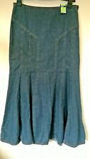"Marks and Spencer UK 12 30"" Waist Casual Blue Denim Long a Line Skirt"