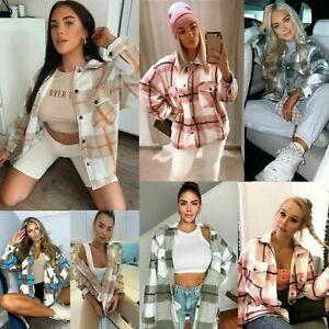 Check Fleece Casual Jacket Shacket Top Shirt Coat Tunic Oversize Baggy Womens
