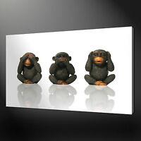 THREE WISE MONKEYS SEE SPEAK HEAR NO EVIL CANVAS PRINT WALL ART READY TO HANG