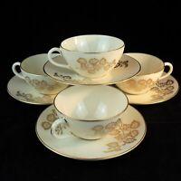 Lenox Celeste Bone China Tea Set Of 4 Cups And Saucers Ivory And Gold  USA