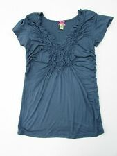 Downeast basics Women's Large Slate Blue Ruched Tee DC1